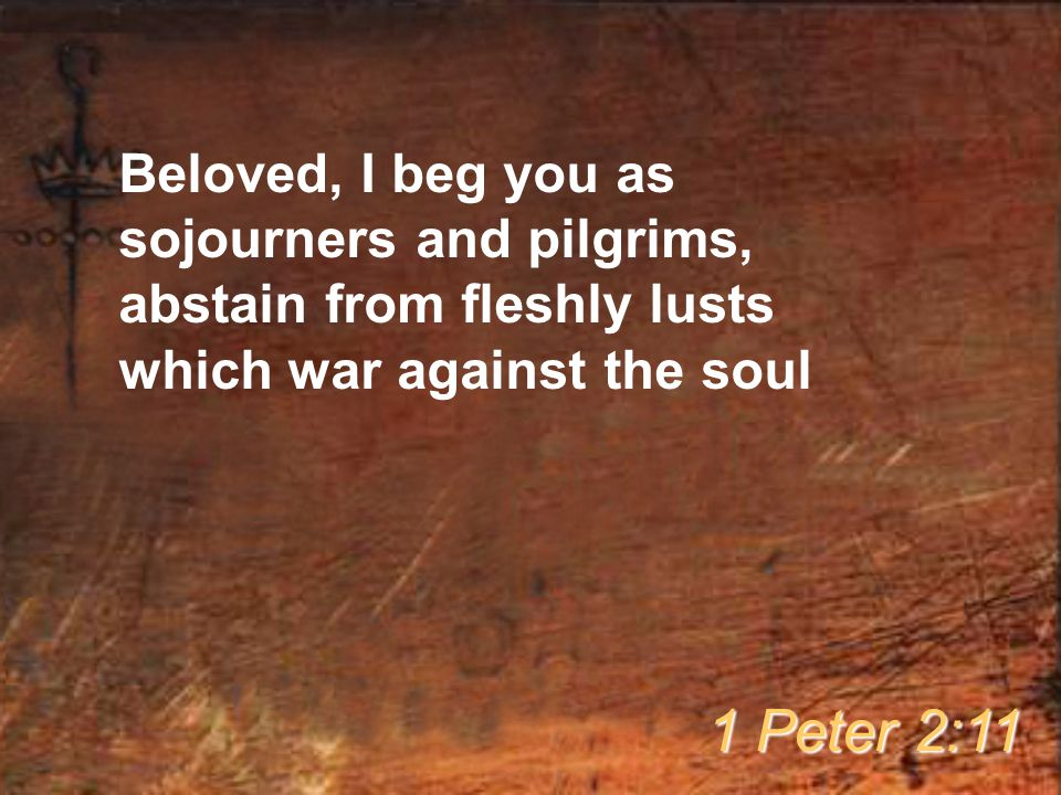 Beloved, I beg you as sojourners and pilgrims, abstain from fleshly lusts which war against the soul