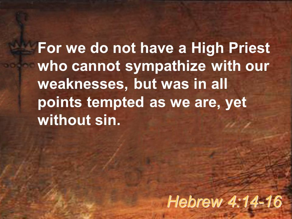 For we do not have a High Priest who cannot sympathize with our weaknesses, but was in all points tempted as we are, yet without sin.