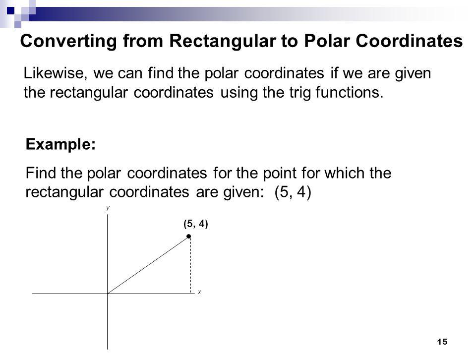 Converting from Rectangular to Polar Coordinates