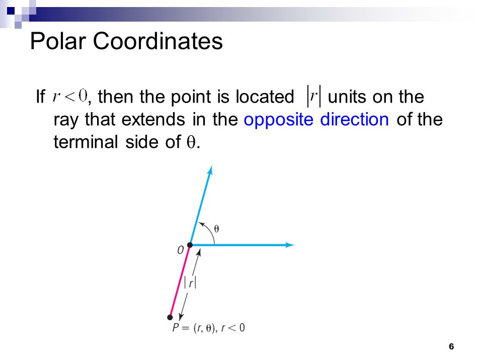 Polar Coordinates If , then the point is located units on the ray that extends in the opposite direction of the terminal side of .