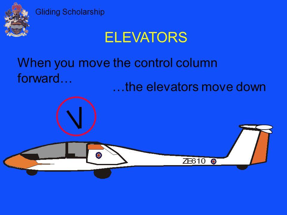 ELEVATORS When you move the control column forward…