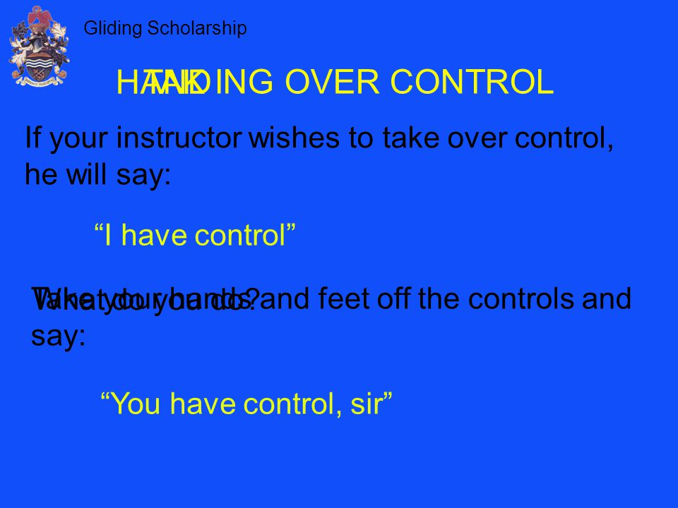 HAND TAK ING OVER CONTROL