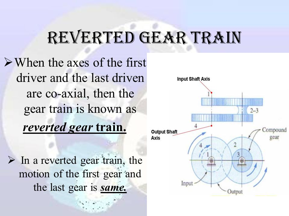 Reverted Gear Train When the axes of the first driver and the last driven are co-axial, then the gear train is known as.