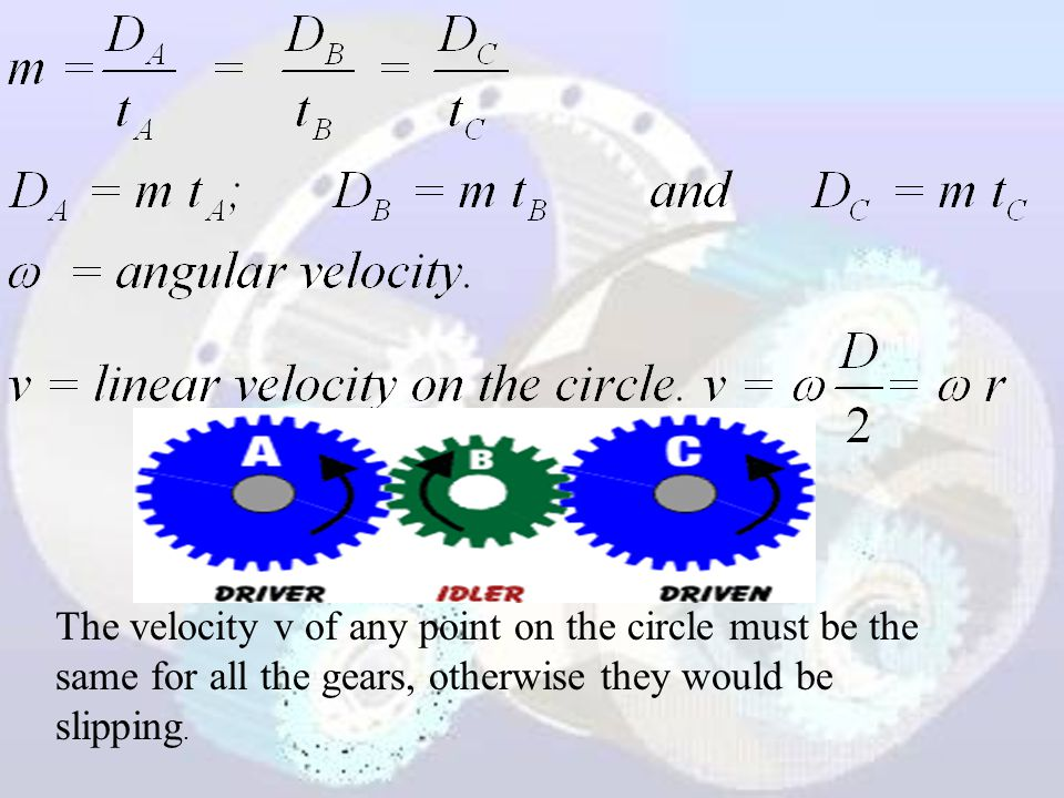 The velocity v of any point on the circle must be the same for all the gears, otherwise they would be slipping.