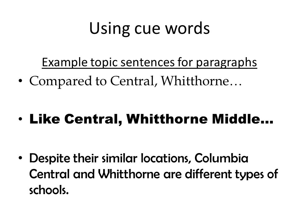 Example topic sentences for paragraphs