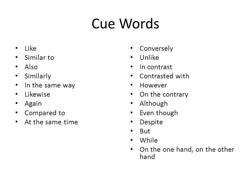 Cue Words Like Similar to Also Similarly In the same way Likewise