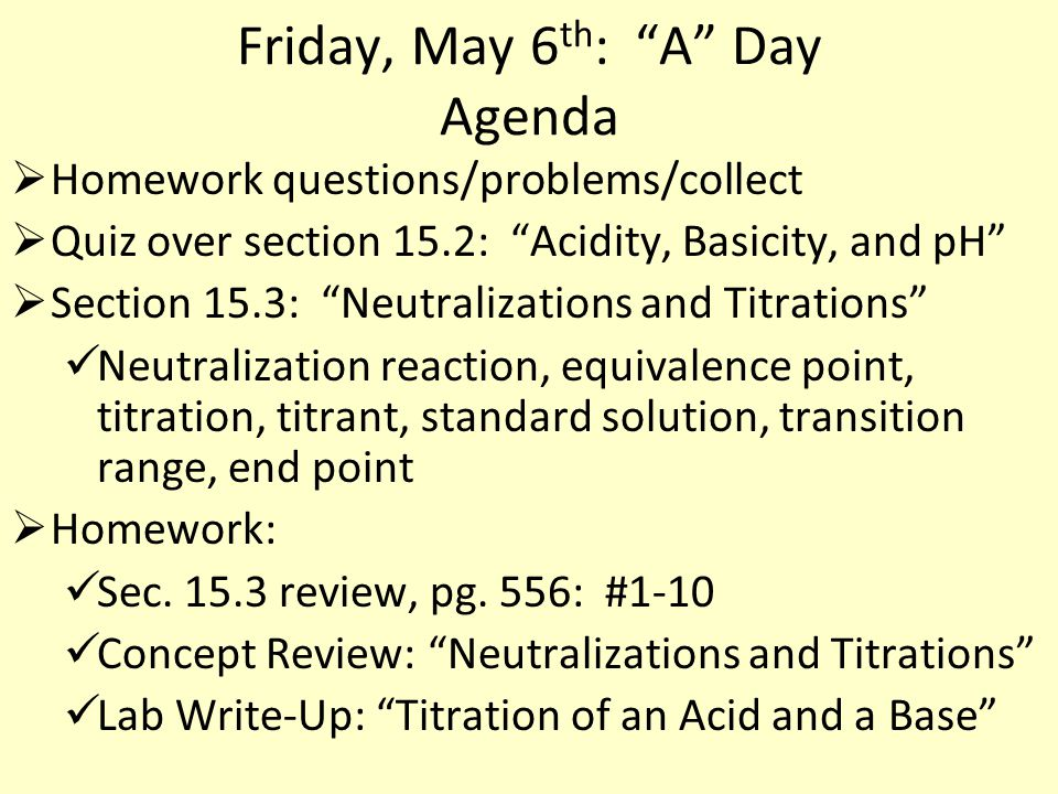 Friday, May 6th: A Day Agenda