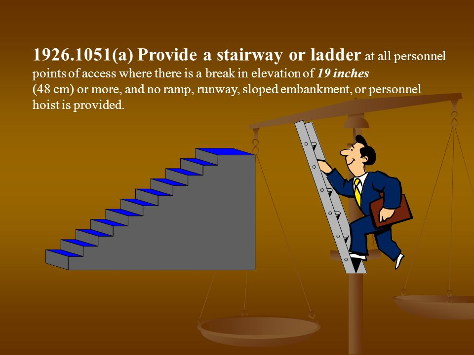 (a) Provide a stairway or ladder at all personnel points of access where there is a break in elevation of 19 inches