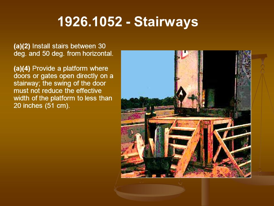 Stairways (a)(2) Install stairs between 30 deg. and 50 deg. from horizontal.