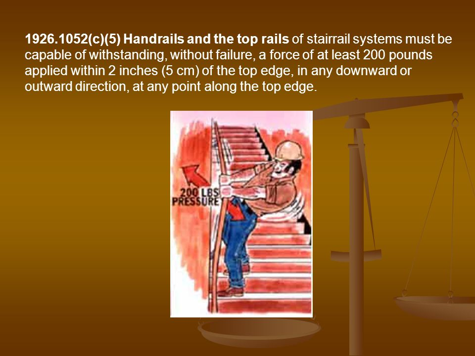 (c)(5) Handrails and the top rails of stairrail systems must be capable of withstanding, without failure, a force of at least 200 pounds applied within 2 inches (5 cm) of the top edge, in any downward or outward direction, at any point along the top edge.