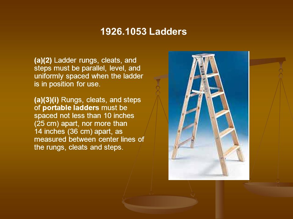 1926.1053 Ladders (a)(2) Ladder rungs, cleats, and steps must be parallel, level, and uniformly spaced when the ladder is in position for use.