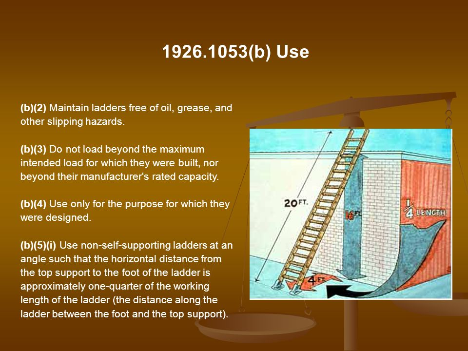 1926.1053(b) Use (b)(2) Maintain ladders free of oil, grease, and other slipping hazards.
