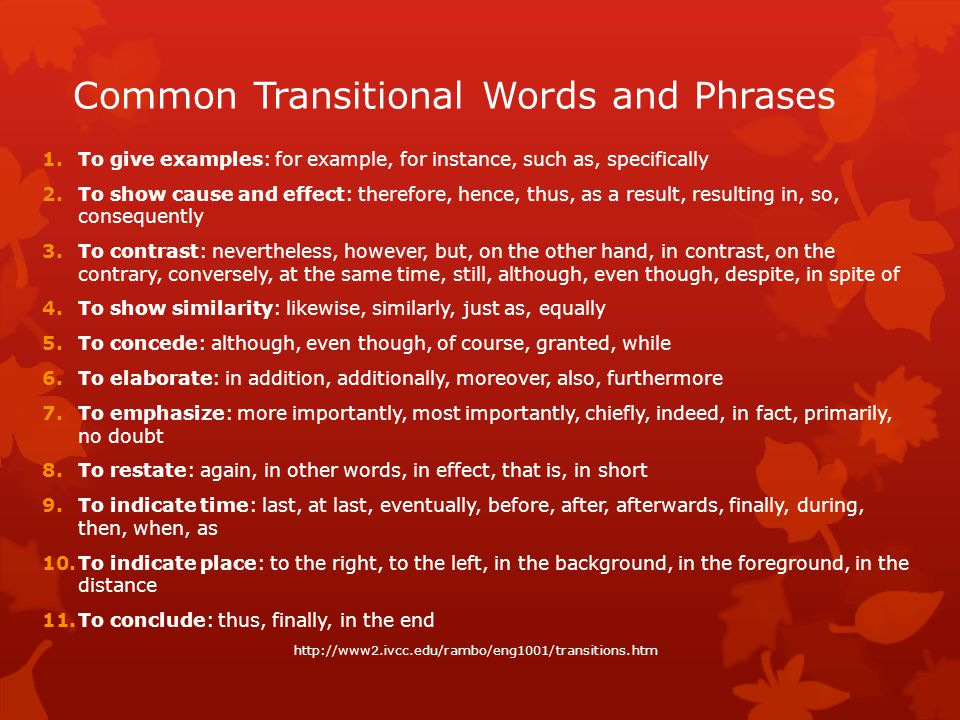 Common Transitional Words and Phrases