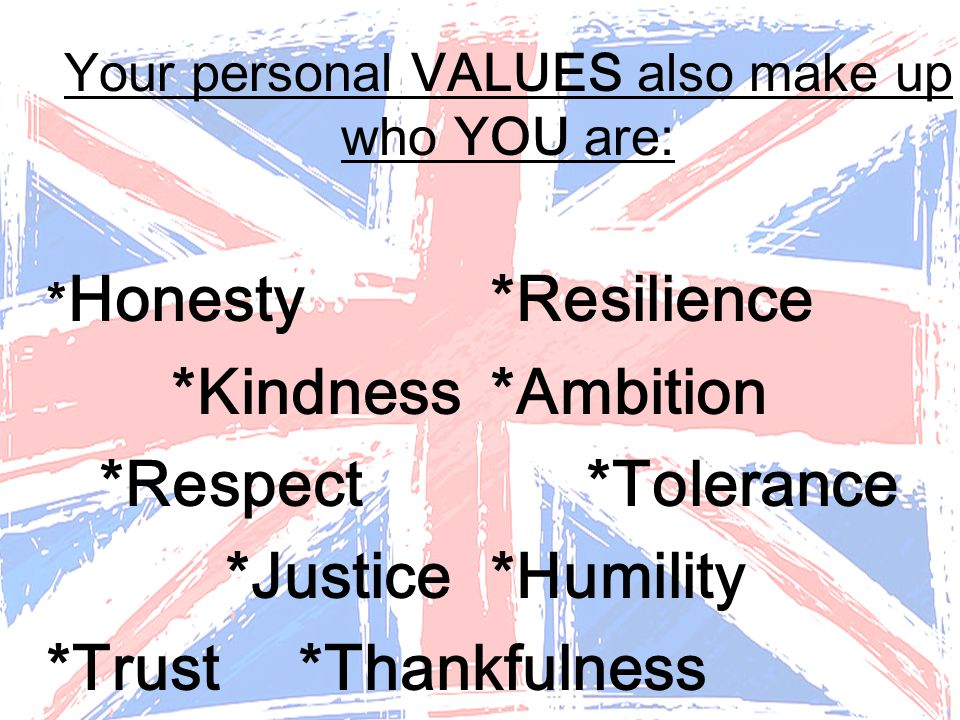 Your personal VALUES also make up who YOU are: