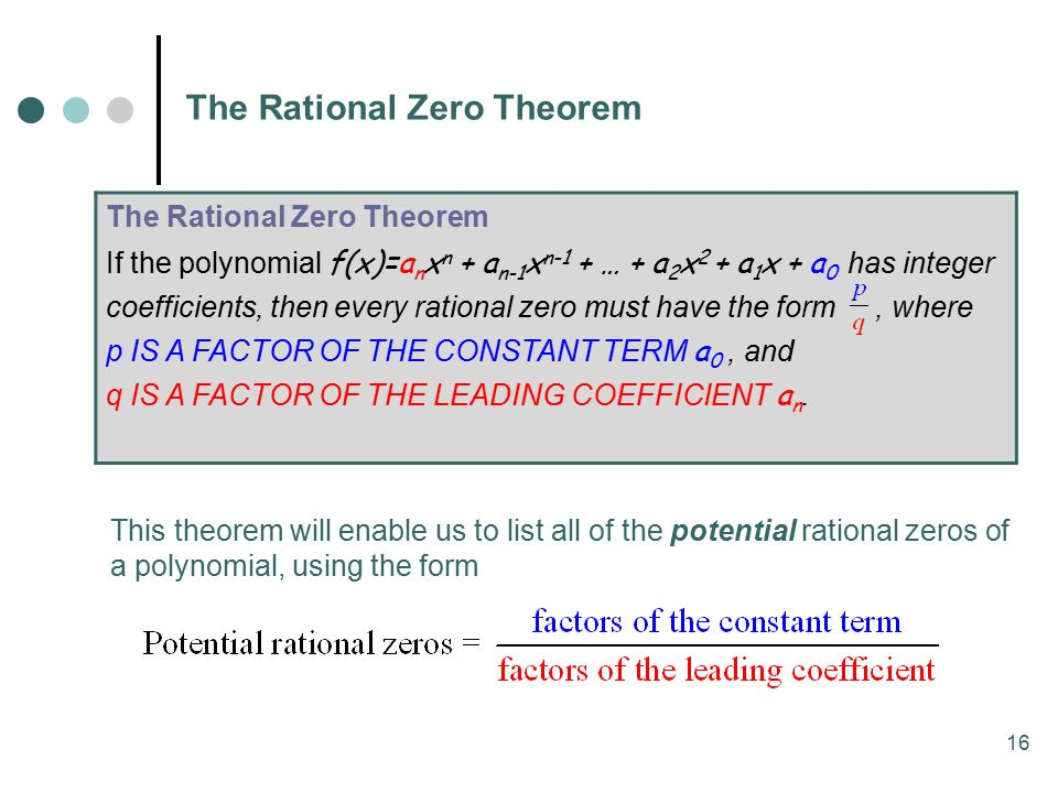 The Rational Zero Theorem