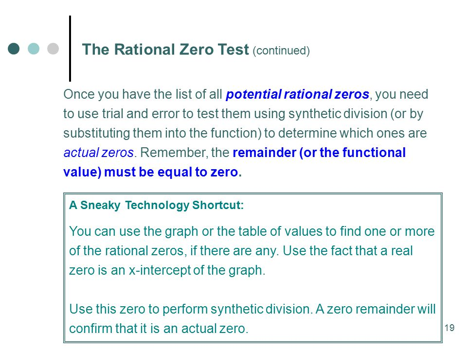 The Rational Zero Test (continued)