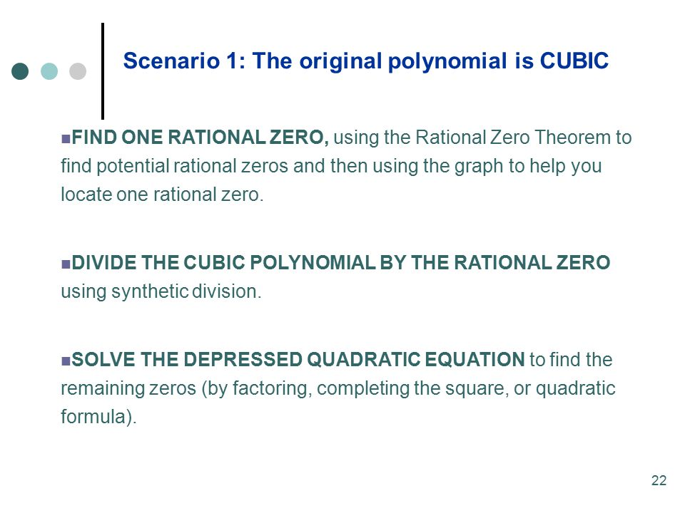 Scenario 1: The original polynomial is CUBIC