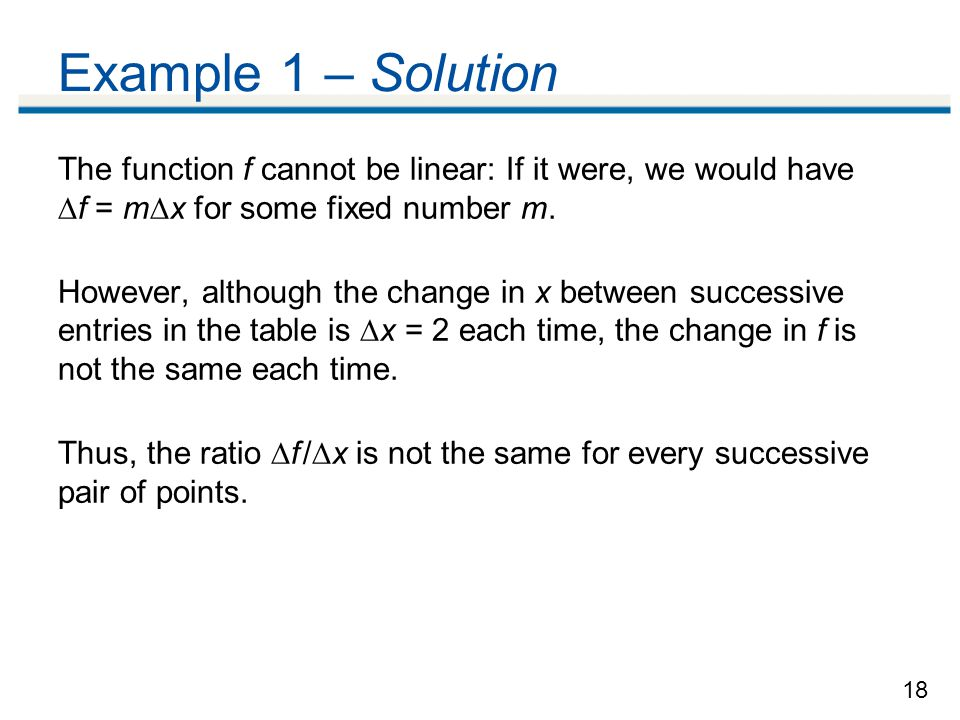 Example 1 – Solution The function f cannot be linear: If it were, we would have f = mx for some fixed number m.