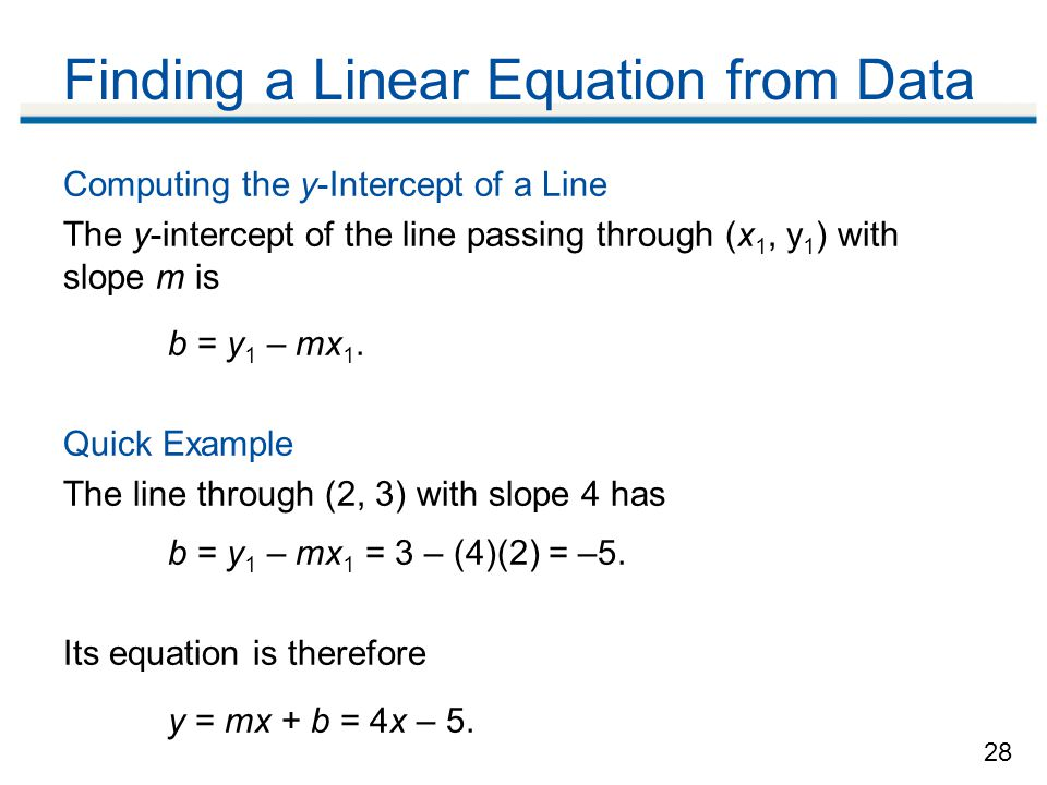 Finding a Linear Equation from Data