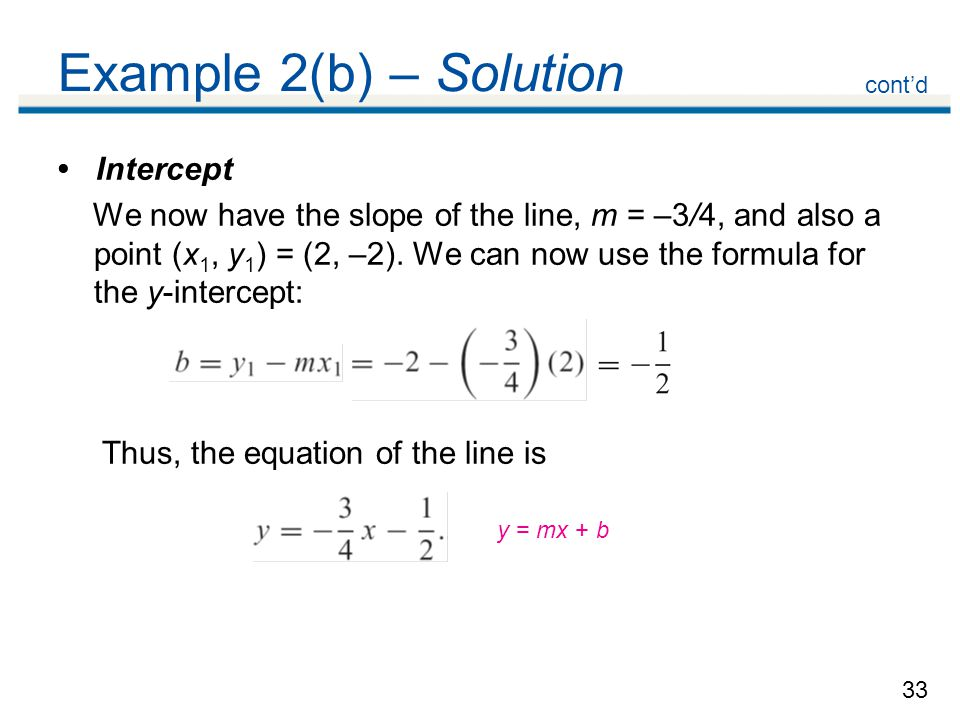 Example 2(b) – Solution • Intercept
