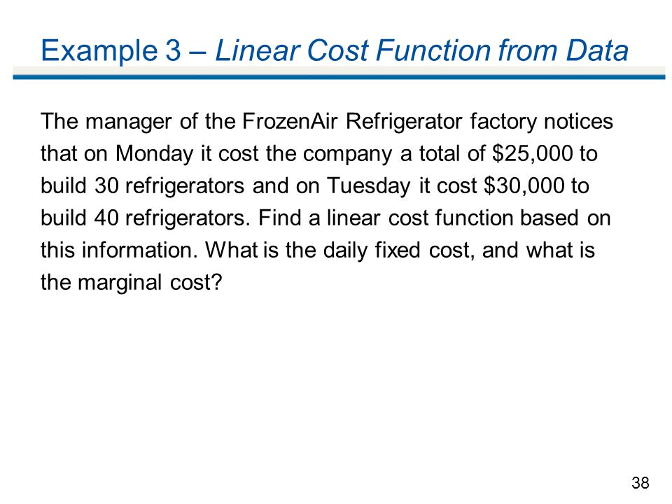 Example 3 – Linear Cost Function from Data