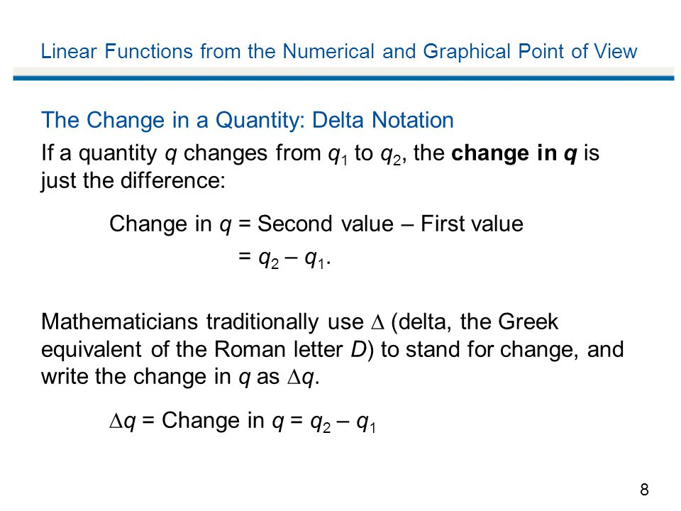 Linear Functions from the Numerical and Graphical Point of View