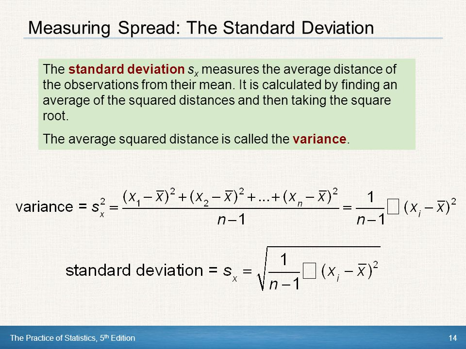 Measuring Spread: The Standard Deviation
