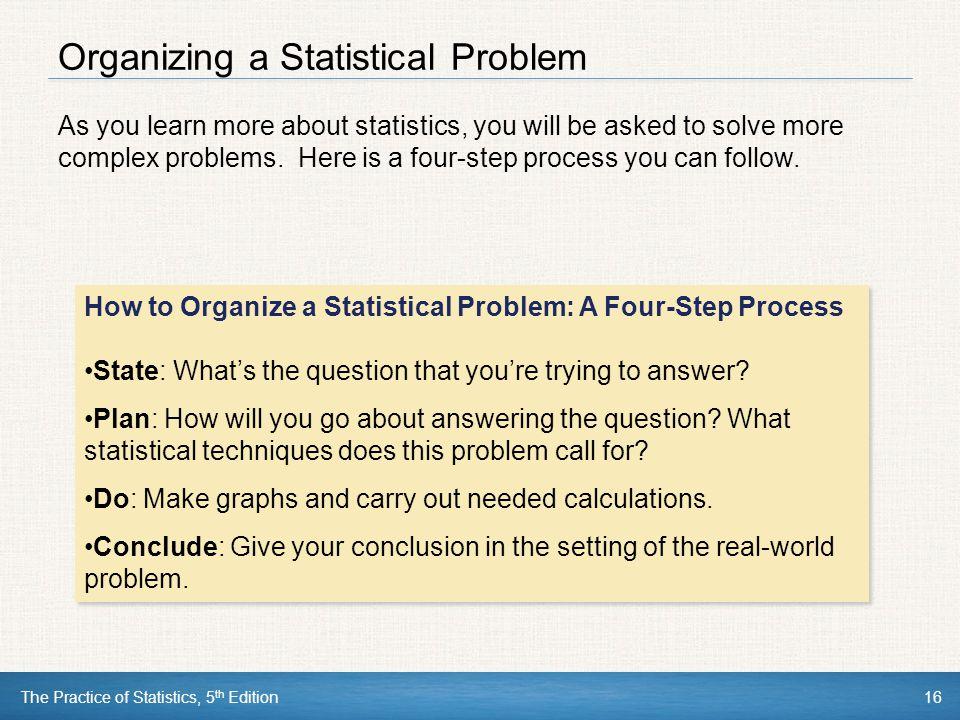 Organizing a Statistical Problem