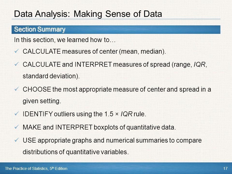 Data Analysis: Making Sense of Data