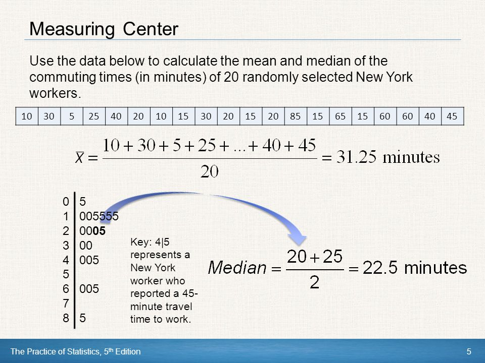 Measuring Center Use the data below to calculate the mean and median of the commuting times (in minutes) of 20 randomly selected New York workers.