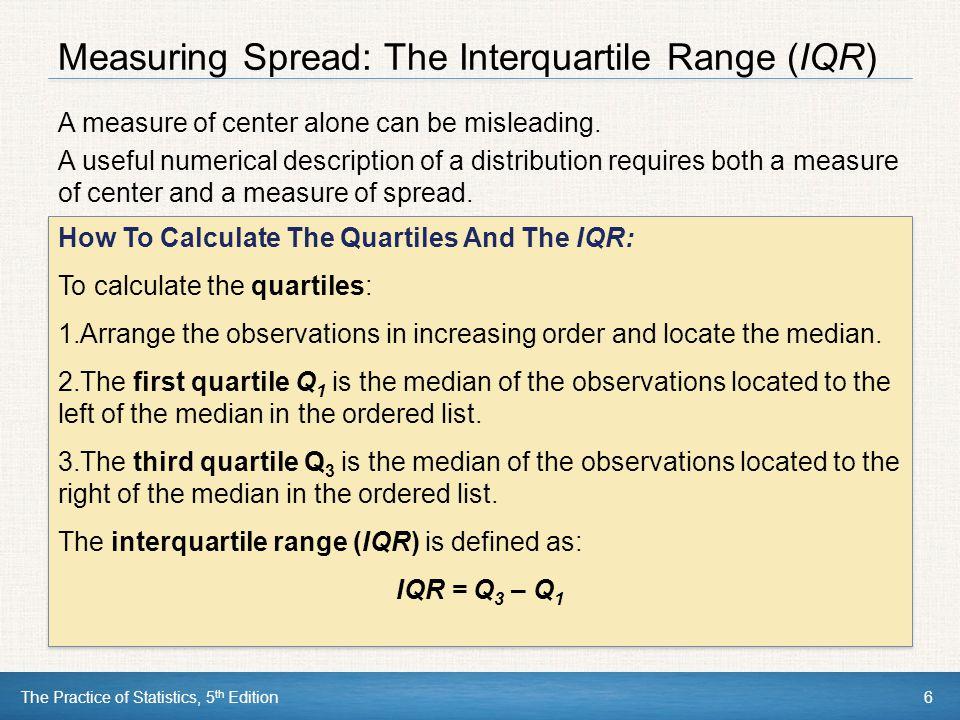 Measuring Spread: The Interquartile Range (IQR)