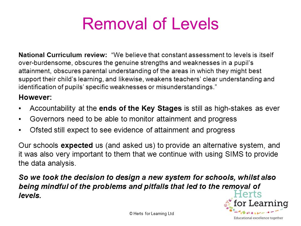 Removal of Levels However: