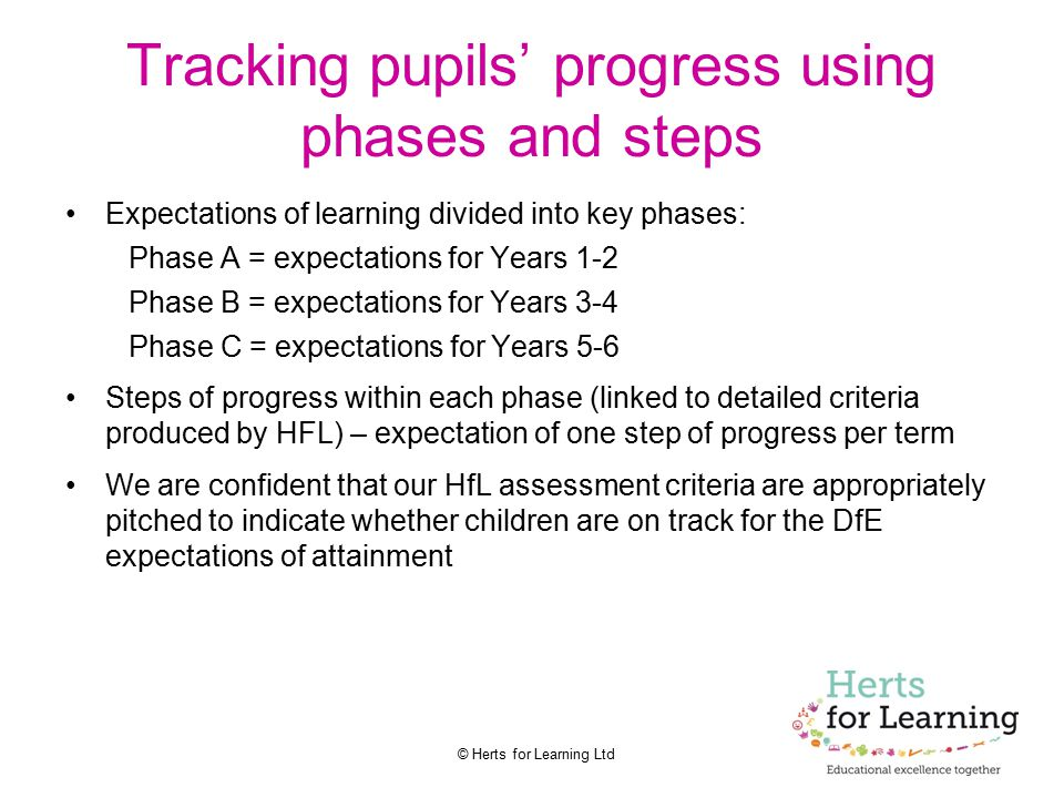 Tracking pupils' progress using phases and steps