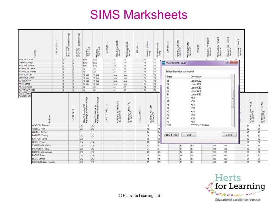 SIMS Marksheets
