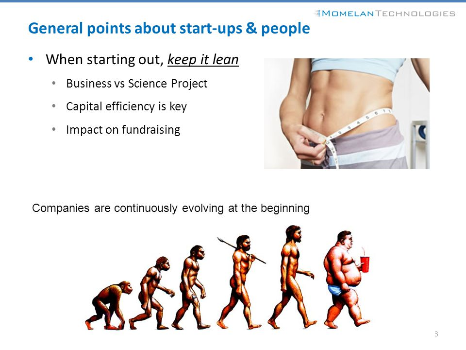 General points about start-ups & people