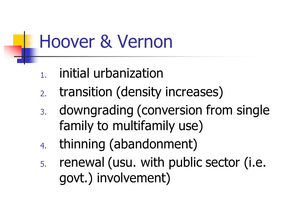 Hoover & Vernon initial urbanization transition (density increases)