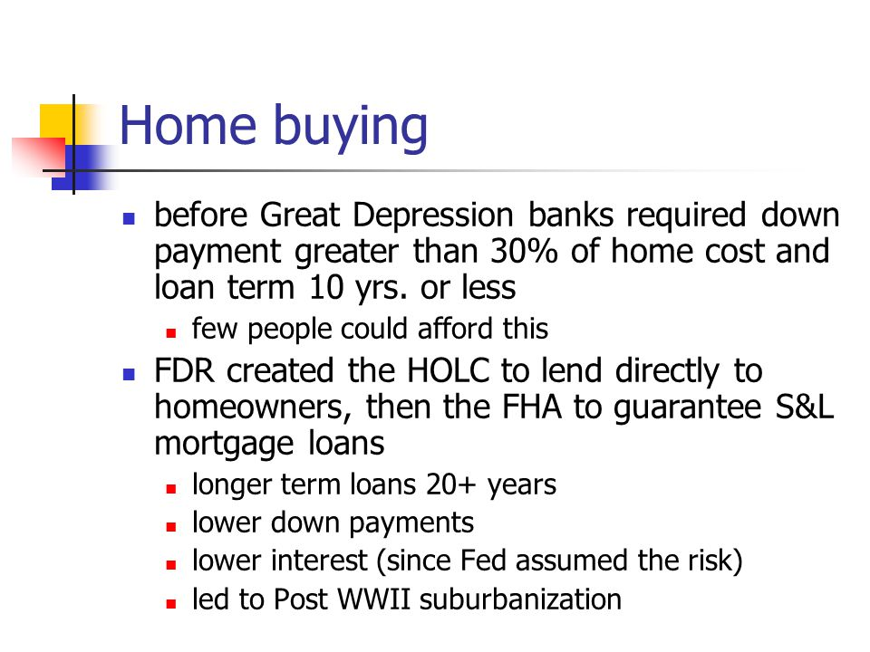 Home buying before Great Depression banks required down payment greater than 30% of home cost and loan term 10 yrs. or less.