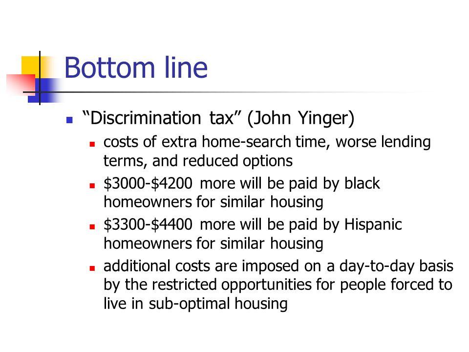 Bottom line Discrimination tax (John Yinger)