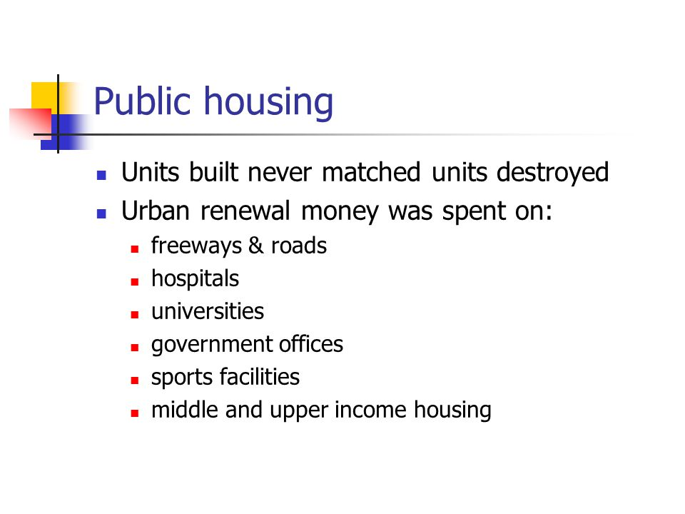 Public housing Units built never matched units destroyed