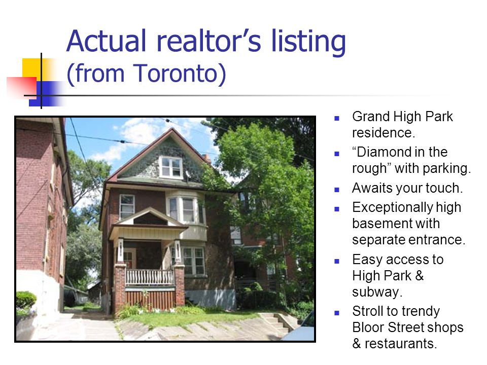 Actual realtor's listing (from Toronto)
