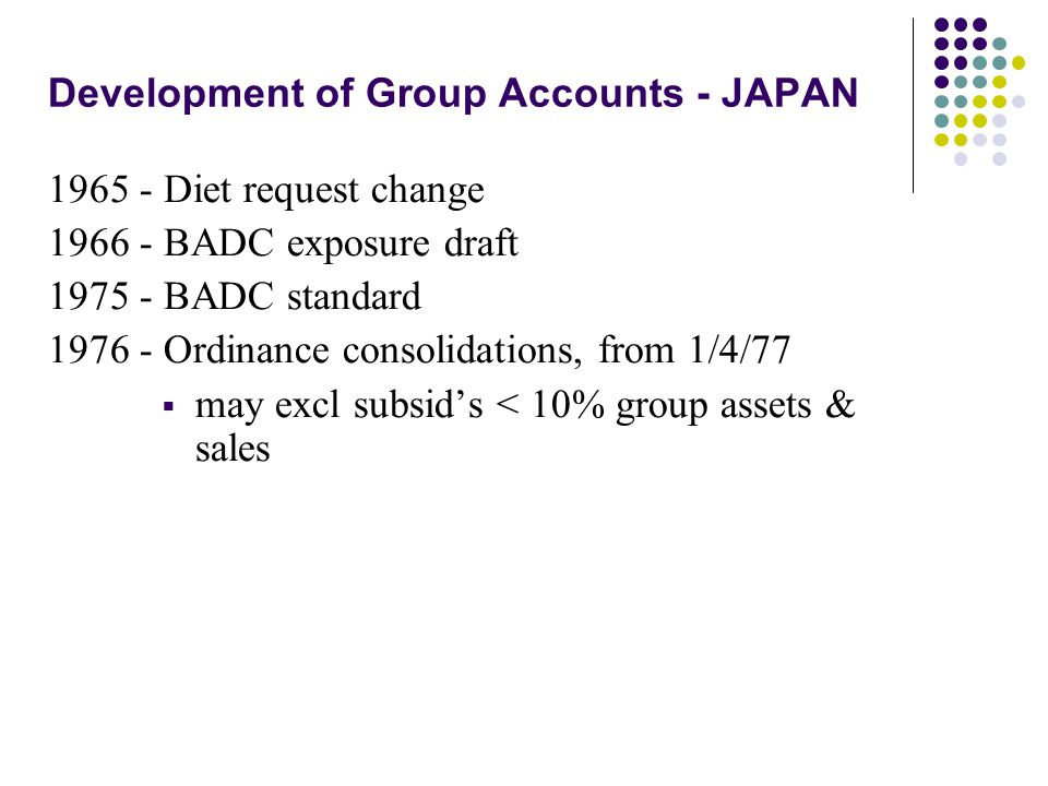 Development of Group Accounts - JAPAN