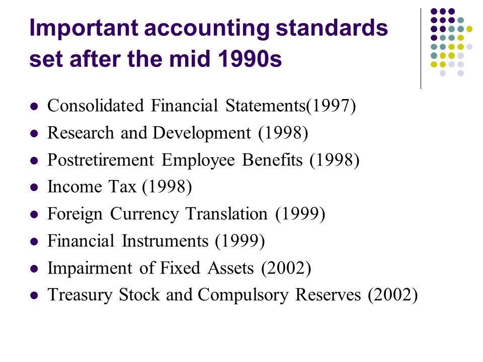 Important accounting standards set after the mid 1990s