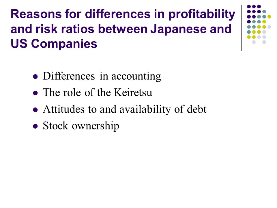 Reasons for differences in profitability and risk ratios between Japanese and US Companies