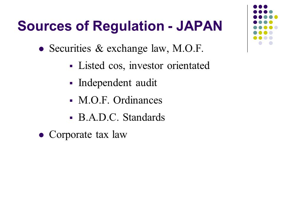 Sources of Regulation - JAPAN