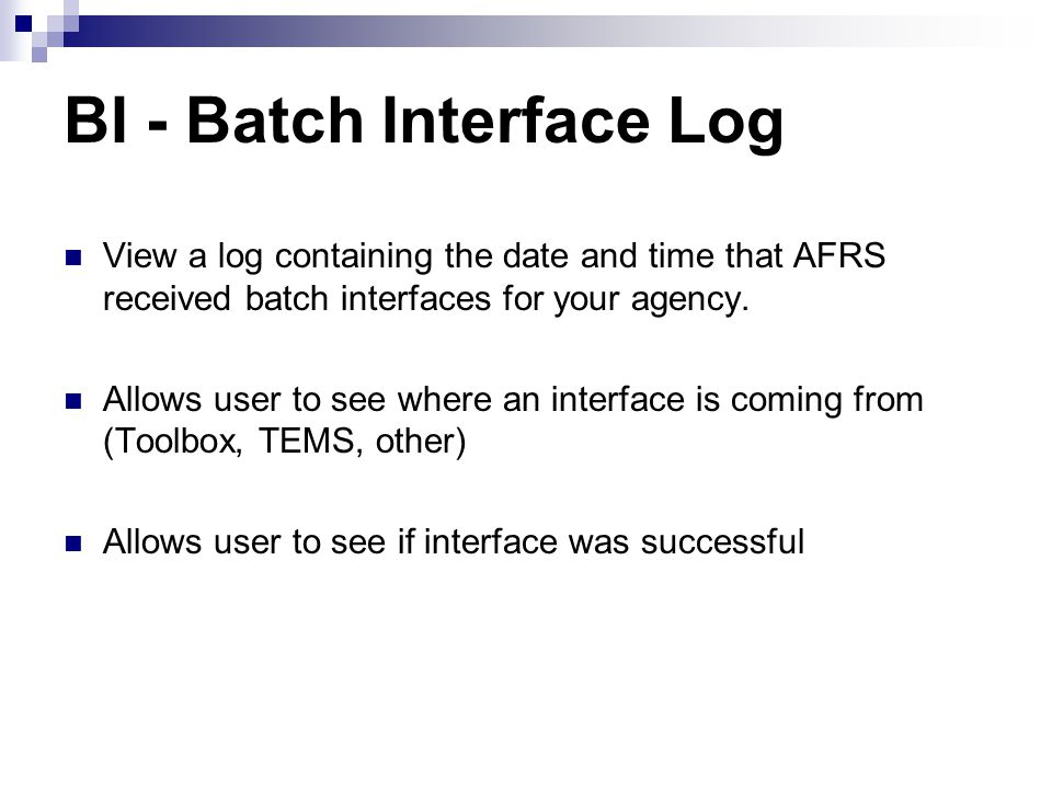 BI - Batch Interface Log
