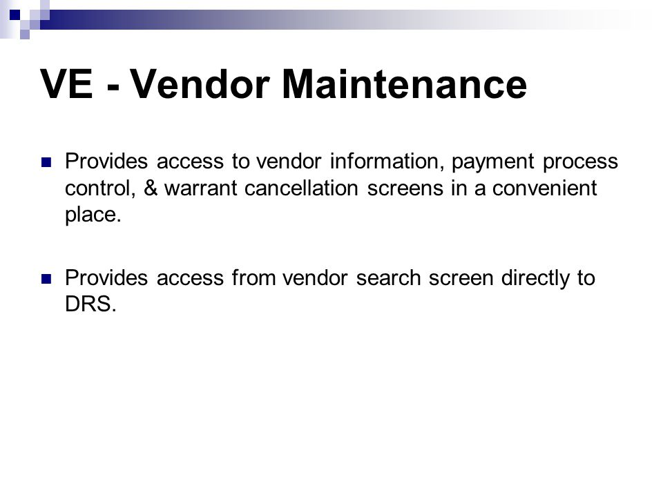 VE - Vendor Maintenance