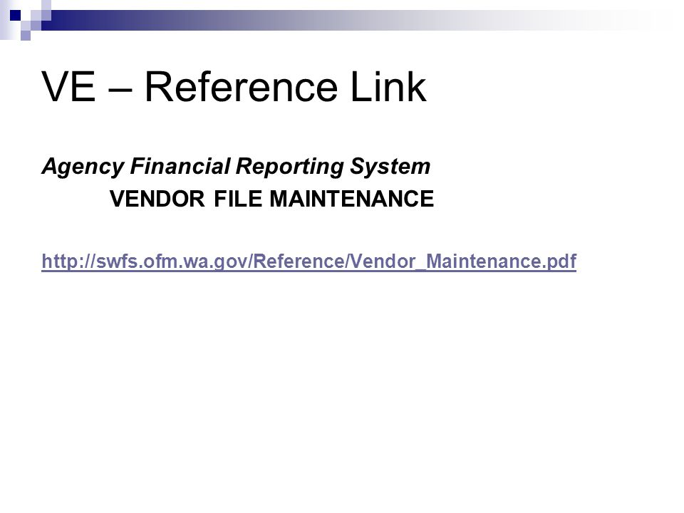 VE – Reference Link Agency Financial Reporting System