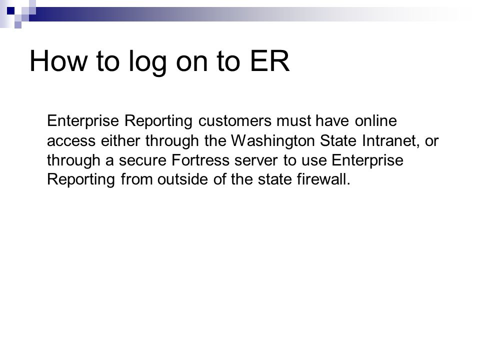 How to log on to ER