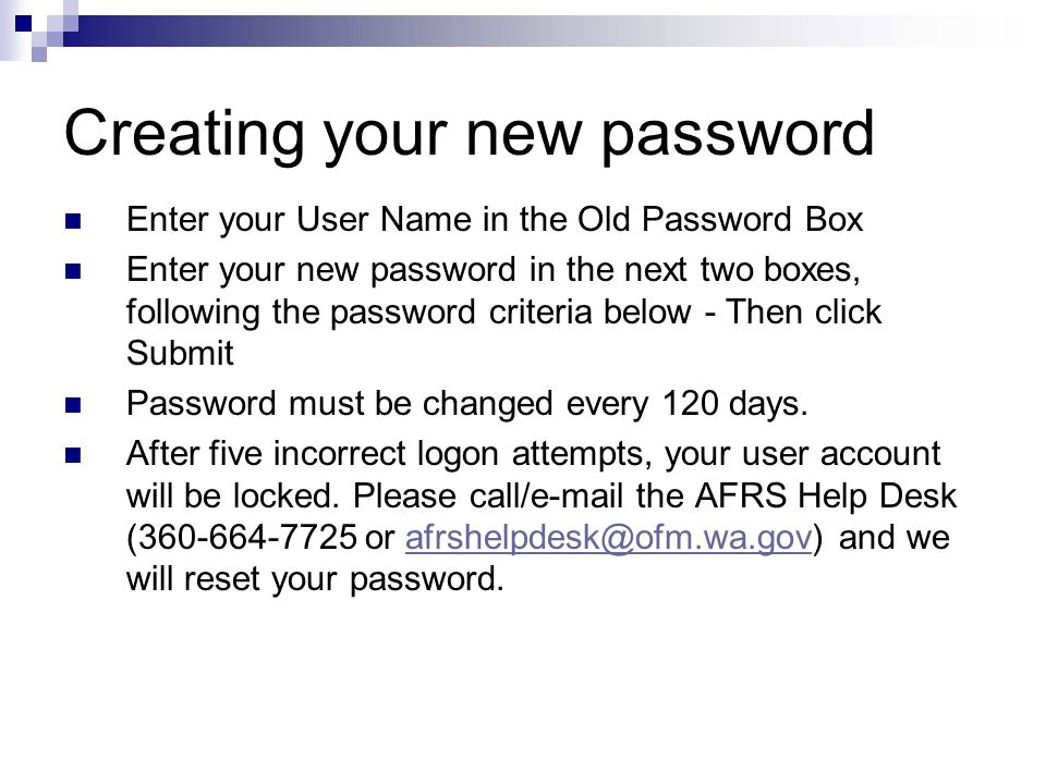 Creating your new password
