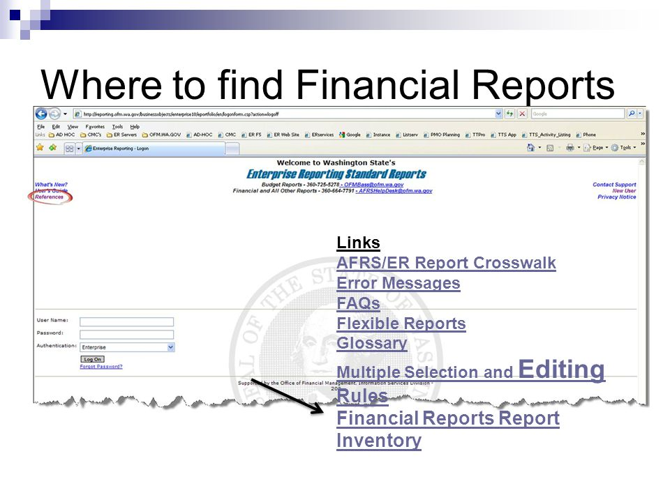 Where to find Financial Reports